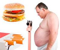 Ожирение, неправильное питание и курение — основные факторы развития атеросклероза.